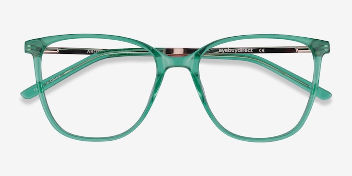 Aroma Emerald Green Metal Eyeglass Frames from EyeBuyDirect, Closed View