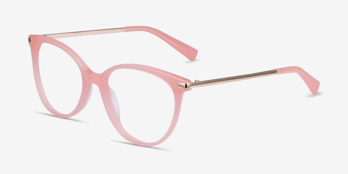 Attitude Coral Acetate Eyeglass Frames from EyeBuyDirect, Angle View