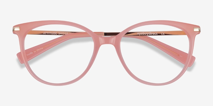Attitude Coral Acetate-metal Eyeglass Frames from EyeBuyDirect, Closed View