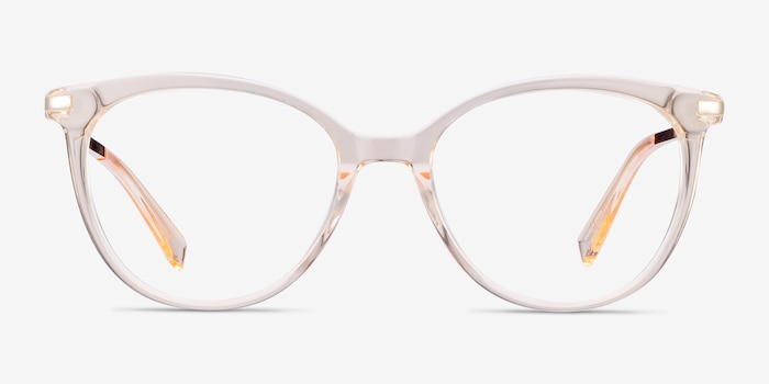 Attitude Clear Melon Metal Eyeglass Frames from EyeBuyDirect, Front View