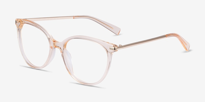 Attitude Clear Melon Metal Eyeglass Frames from EyeBuyDirect, Angle View
