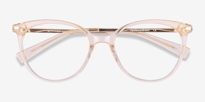 Attitude Clear Melon Metal Eyeglass Frames from EyeBuyDirect, Closed View