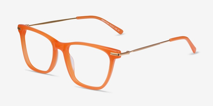 Sebastian Orange Acetate-metal Eyeglass Frames from EyeBuyDirect, Angle View