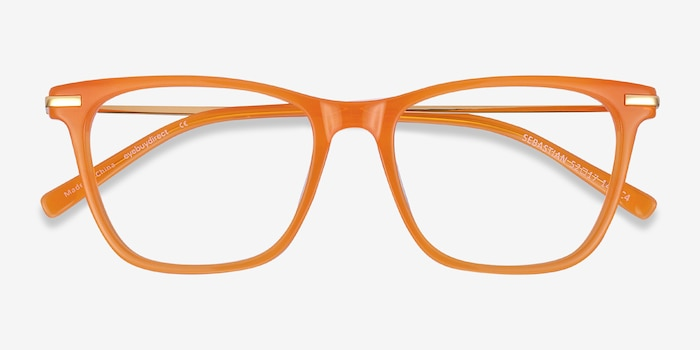 Sebastian Orange Acetate-metal Eyeglass Frames from EyeBuyDirect, Closed View