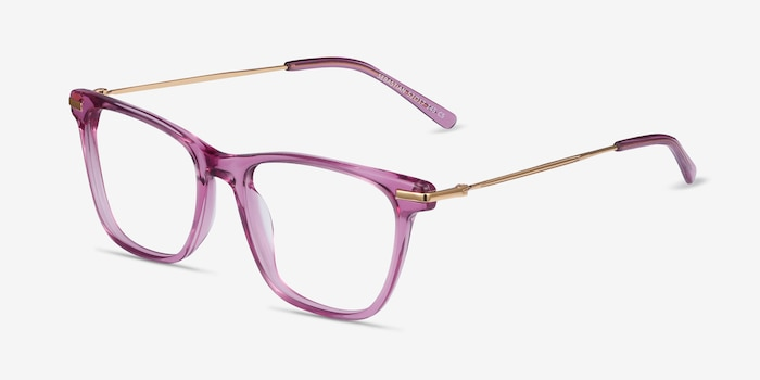 Sebastian Purple Acetate Eyeglass Frames from EyeBuyDirect, Angle View