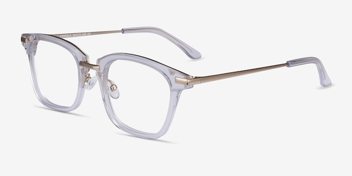Candela Clear Metal Eyeglass Frames from EyeBuyDirect, Angle View