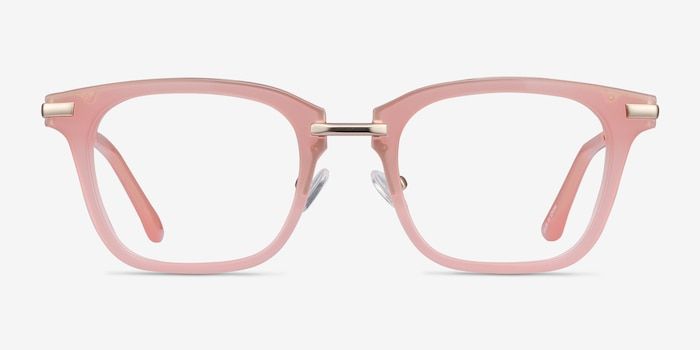 Candela Pink Metal Eyeglass Frames from EyeBuyDirect, Front View