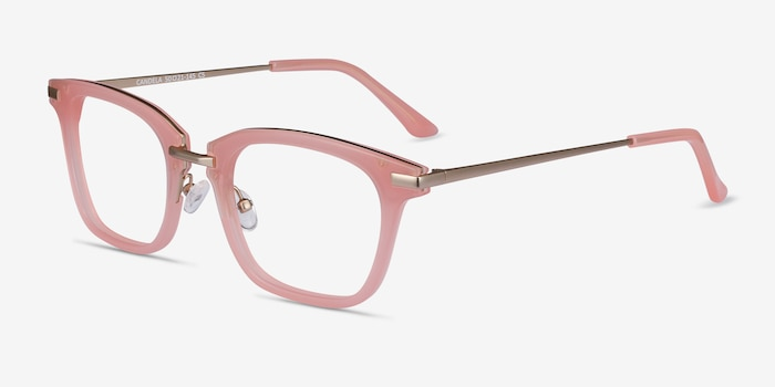 Candela Pink Metal Eyeglass Frames from EyeBuyDirect, Angle View