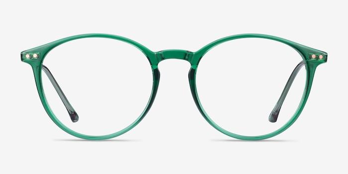 Amity Emerald Green Métal Montures de Lunettes d'EyeBuyDirect, Vue de Face