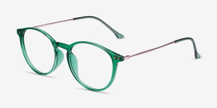 Amity Emerald Green Plastic-metal Eyeglass Frames from EyeBuyDirect, Angle View