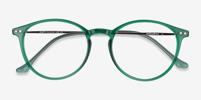 Amity Emerald Green Métal Montures de Lunettes d'EyeBuyDirect, Vue Rapprochée