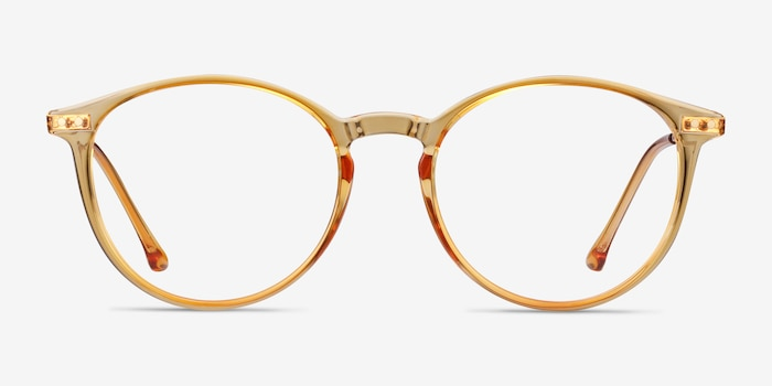 Amity Orange Metal Eyeglass Frames from EyeBuyDirect, Front View