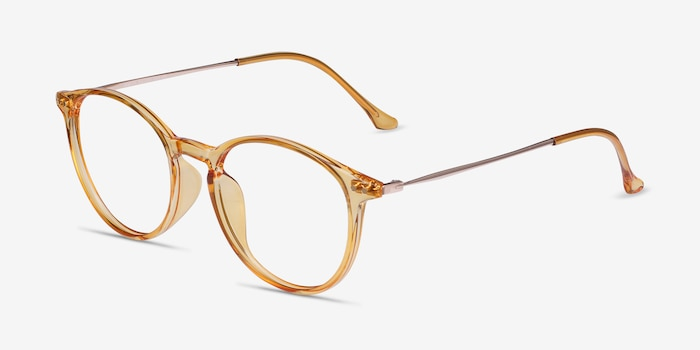 Amity Orange Metal Eyeglass Frames from EyeBuyDirect, Angle View