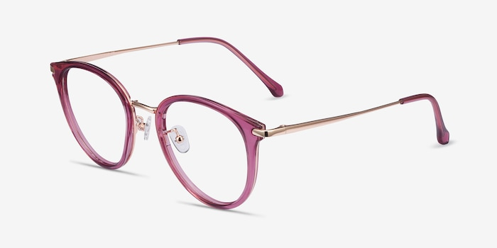 Hollie Cassis Metal Eyeglass Frames from EyeBuyDirect, Angle View