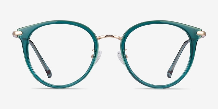 Hollie Teal Metal Eyeglass Frames from EyeBuyDirect, Front View