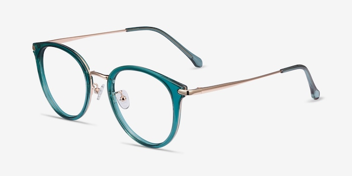 Hollie Teal Metal Eyeglass Frames from EyeBuyDirect, Angle View