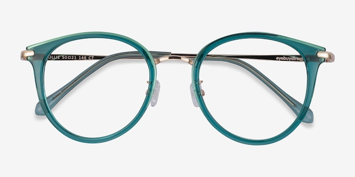 Hollie Teal Metal Eyeglass Frames from EyeBuyDirect, Closed View