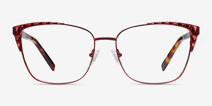 Signora Red Acetate-metal Eyeglass Frames from EyeBuyDirect, Front View