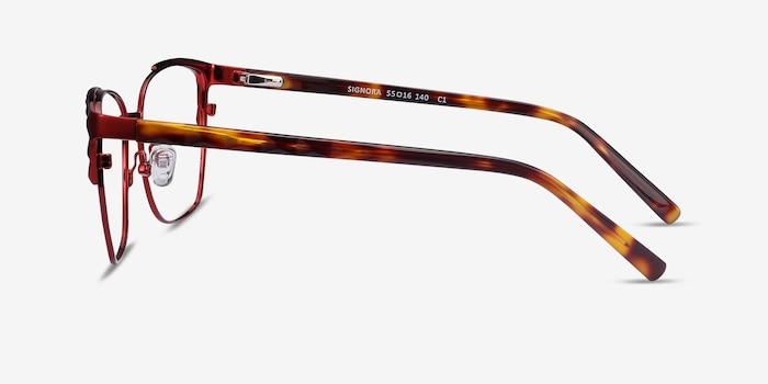 Signora Red Acetate-metal Eyeglass Frames from EyeBuyDirect, Side View