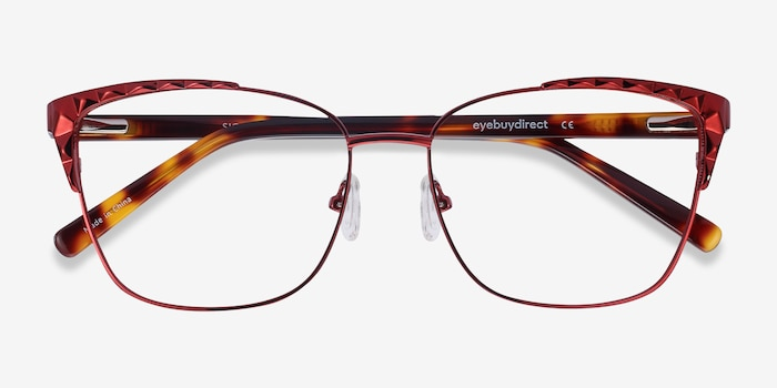 Signora Red Acetate-metal Eyeglass Frames from EyeBuyDirect, Closed View