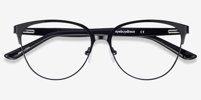 Marigold Black & Leopard Acetate-metal Eyeglass Frames from EyeBuyDirect, Closed View