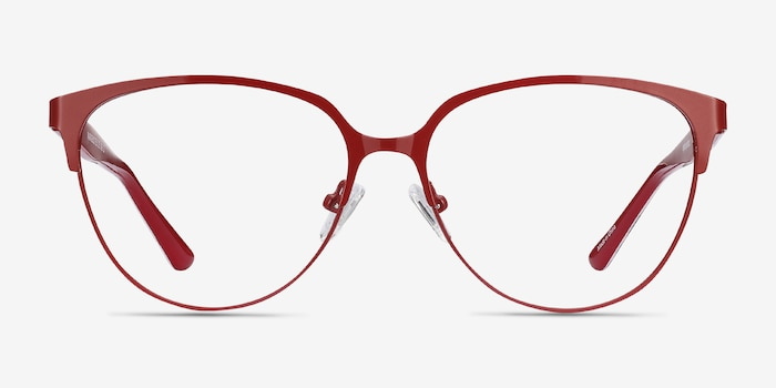 Marigold Red & Leopard Acetate-metal Eyeglass Frames from EyeBuyDirect, Front View