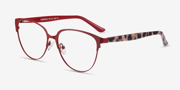 Marigold Red & Leopard Acetate-metal Eyeglass Frames from EyeBuyDirect, Angle View