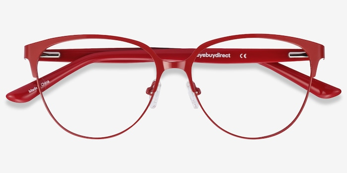 Marigold Red & Leopard Acetate-metal Eyeglass Frames from EyeBuyDirect, Closed View