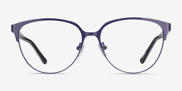 Marigold Purple & Leopard Acetate-metal Eyeglass Frames from EyeBuyDirect, Front View