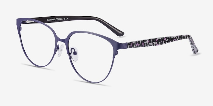 Marigold Purple & Leopard Acetate-metal Eyeglass Frames from EyeBuyDirect, Angle View