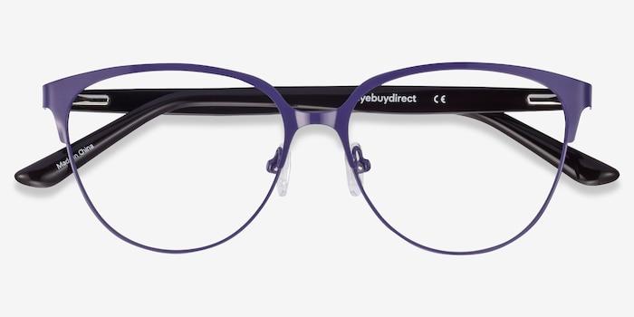 Marigold Purple & Leopard Acetate-metal Eyeglass Frames from EyeBuyDirect, Closed View
