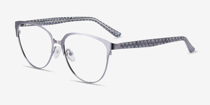 Marigold Silver & Reptile Acetate-metal Eyeglass Frames from EyeBuyDirect, Angle View