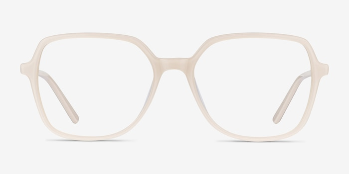 Lenny Cream Acetate Eyeglass Frames from EyeBuyDirect, Front View
