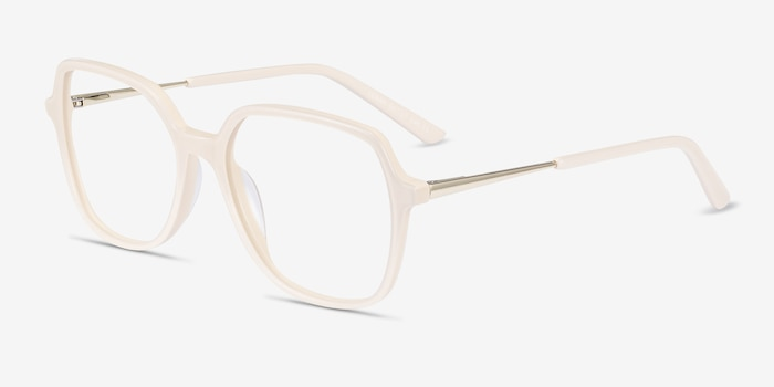 Lenny Cream Acetate Eyeglass Frames from EyeBuyDirect, Angle View