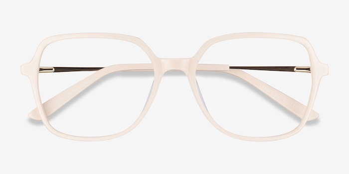 Lenny Cream Acetate Eyeglass Frames from EyeBuyDirect, Closed View