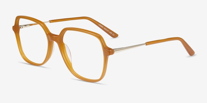Lenny Mellow Yellow Acetate Eyeglass Frames from EyeBuyDirect, Angle View