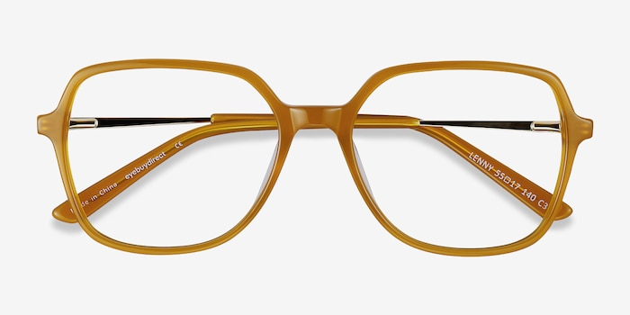 Lenny Mellow Yellow Acetate Eyeglass Frames from EyeBuyDirect, Closed View