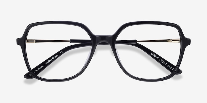 Lenny Black Acetate-metal Eyeglass Frames from EyeBuyDirect, Closed View