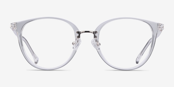Shelby Clear Metal Eyeglass Frames from EyeBuyDirect, Front View