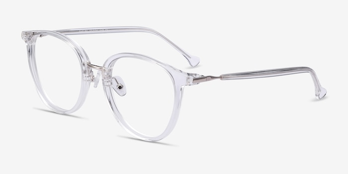 Shelby Clear Metal Eyeglass Frames from EyeBuyDirect, Angle View