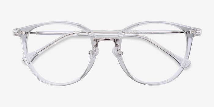 Shelby Clear Metal Eyeglass Frames from EyeBuyDirect, Closed View