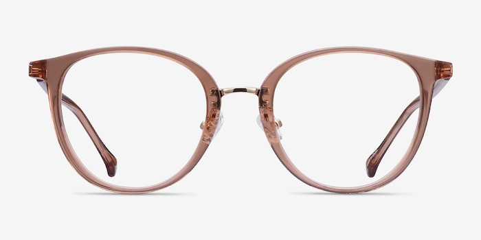 Shelby Clear Brown Acetate-metal Eyeglass Frames from EyeBuyDirect, Front View