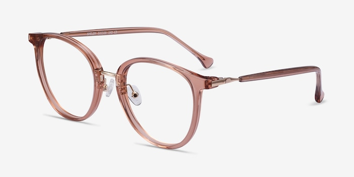 Shelby Clear Brown Acetate-metal Eyeglass Frames from EyeBuyDirect, Angle View