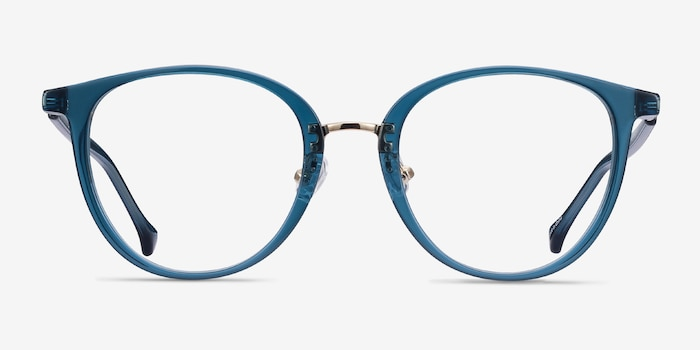 Shelby Teal Metal Eyeglass Frames from EyeBuyDirect, Front View