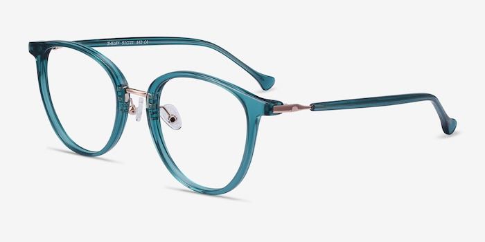 Shelby Teal Metal Eyeglass Frames from EyeBuyDirect, Angle View