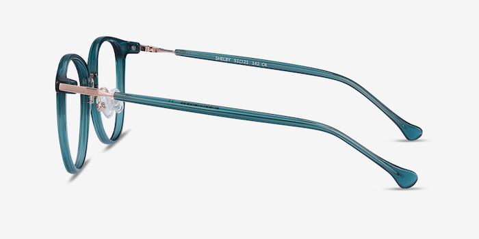 Shelby Teal Metal Eyeglass Frames from EyeBuyDirect, Side View