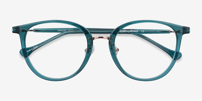 Shelby Teal Metal Eyeglass Frames from EyeBuyDirect, Closed View