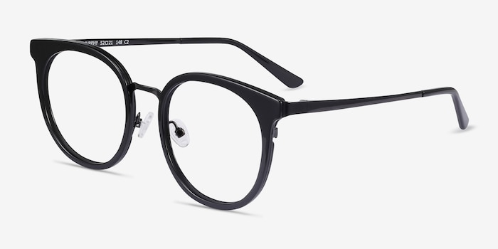 Murphy Black Acetate-metal Eyeglass Frames from EyeBuyDirect, Angle View