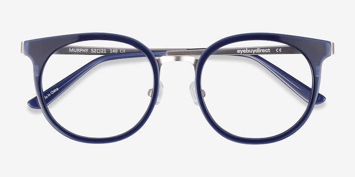 Murphy Navy Acetate Eyeglass Frames from EyeBuyDirect, Closed View