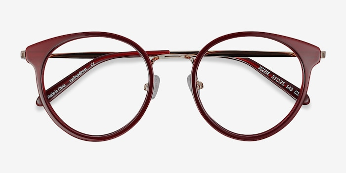 Jezzie Burgundy & Gold Acetate-metal Eyeglass Frames from EyeBuyDirect, Closed View